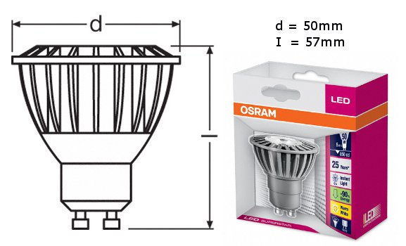 osram led superstar par16 50 25 gu10 lampe led leuchte osram neu 5w ebay. Black Bedroom Furniture Sets. Home Design Ideas