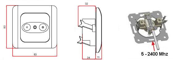 tv radio antennendose stichleitungsdose antenne neu. Black Bedroom Furniture Sets. Home Design Ideas